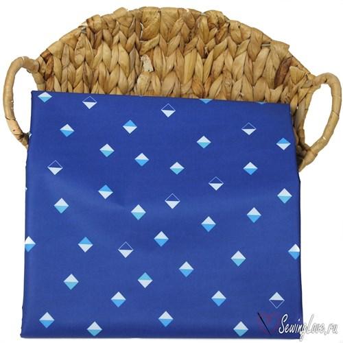 Курточная ткань DOBBY MEMBRANE 3к/3к Ромбы на синем - фото 14873