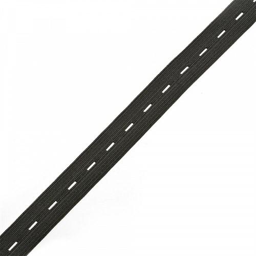 Резинка TBY вязаная перфорированная, 20мм, Черный - фото 15550