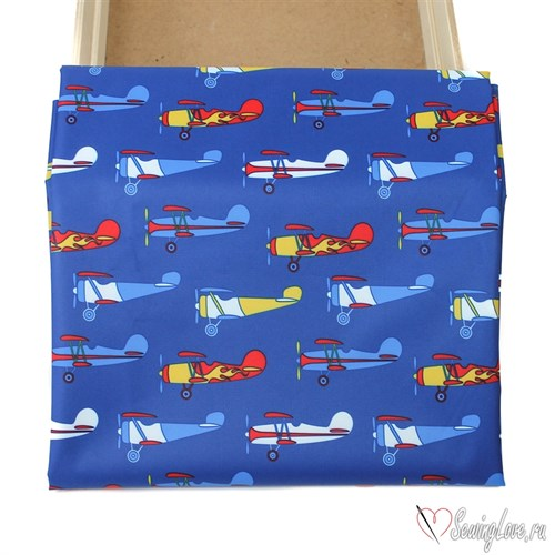 Курточная ткань DOBBY MEMBRANE 3к/3к Самолеты - фото 16366