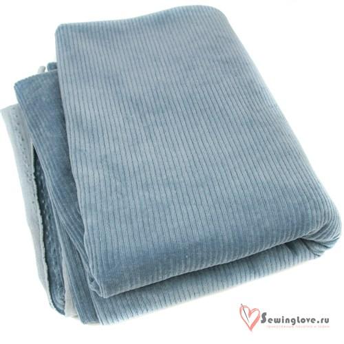 Трикотажный вельвет Винтажный синий (джинс) - фото 33210