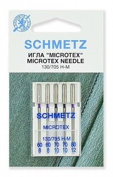 Иглы микротекс (особо острые) Schmetz 130/705H-M №№ 60(2),70(2),80, 5 шт.