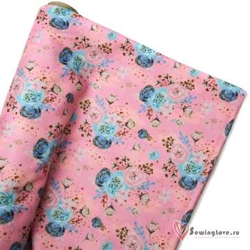 Микрофлис Цветы на розовом