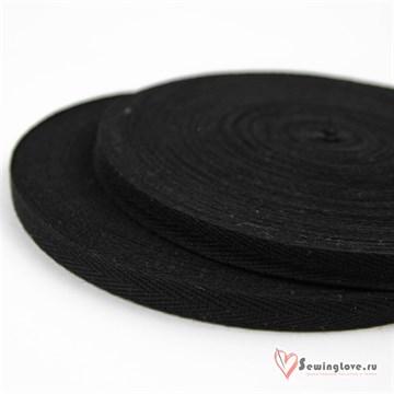 Тесьма киперная, 10 мм, хлопок, Чёрный