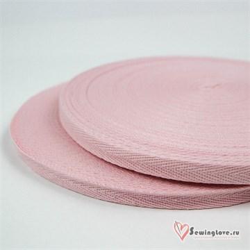 Тесьма киперная, 10 мм, хлопок, Светло-розовый