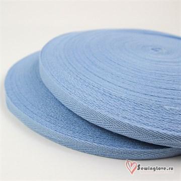 Тесьма киперная, 10 мм, хлопок, Светло-голубой