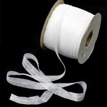 Лента нитепрошивная клеевая по косой с нитью 15 мм, белый