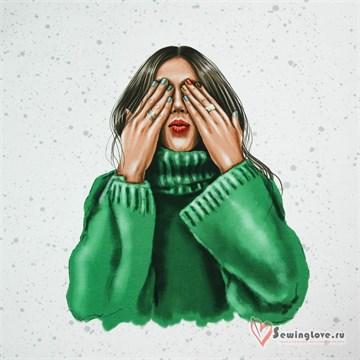 Панель на футере Девушка в зелёном свитере, 70х60см
