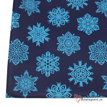 Курточная ткань Мембрана 5к/5к Снежинки на синем