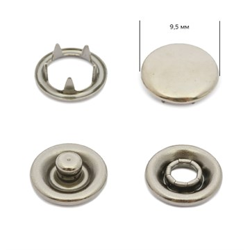 Кнопка нержавеющая Alfa 9.5 мм, Тёмный никель