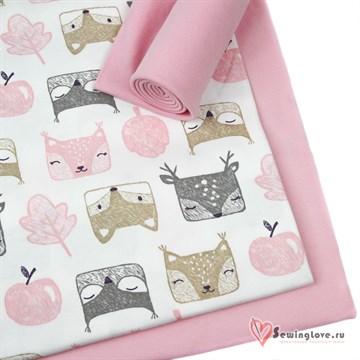 Интерлок Лесные животные (розовые) фон сахар