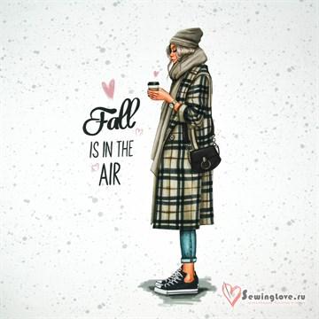 """Панель на футере """"Девушка в пальто"""", 70х60 см"""