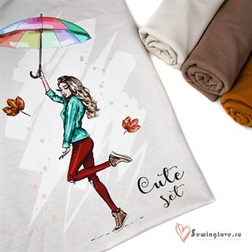 """Панель на футере """"Девушка с зонтиком"""" на кремовом, 70х60 см"""