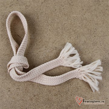 Плоский плетельный шнур, 12 мм, Светлая пудра