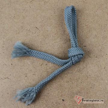 Плоский плетельный шнур, 12 мм, Серый