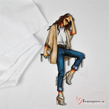 Панель на футере Девушка в джинсах, 70х60см