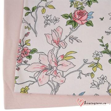 Интерлок Цветы розовые