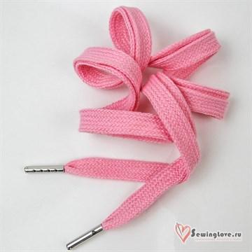 Шнурок плоский Розовый ш. 10 мм, 130 см