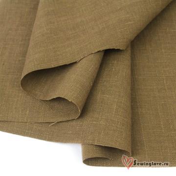 Ткань Лён костюмный Табак, 100% лён