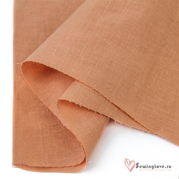 Ткань Лён умягченный Персик, 50% лён, 50%хб