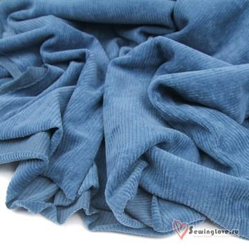 Трикотажный вельвет Синий джинс