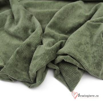 Трикотажный вельвет Зелёный мох