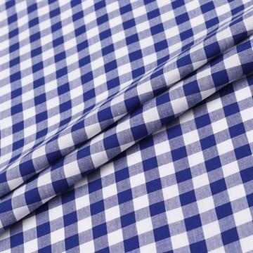 Перкаль пестротканый Клетка Бело-синяя