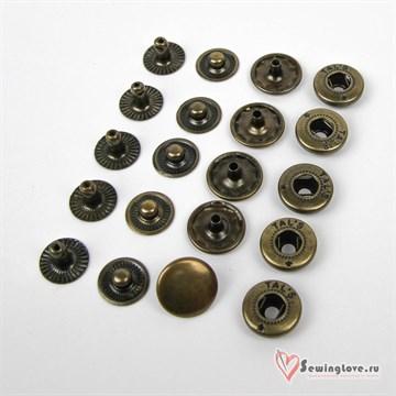 Кнопка сталь Alfa 15 мм, Антик