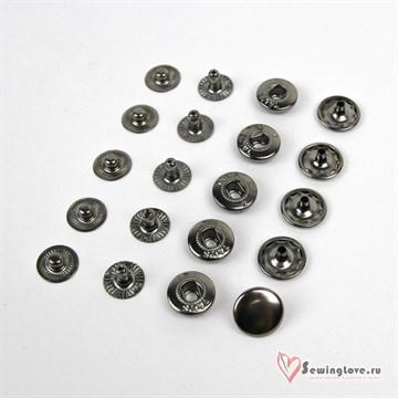 Кнопка сталь Alfa 15 мм, Чёрный Никель