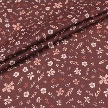 Перкаль Цветочки на коричневом 100%хб