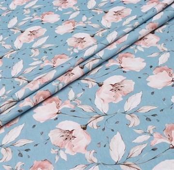 Сатин Цветы на голубом
